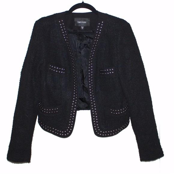 Karen Kane Jackets & Blazers - Karen Kane Silver Studded Tweed Cropped Jacket